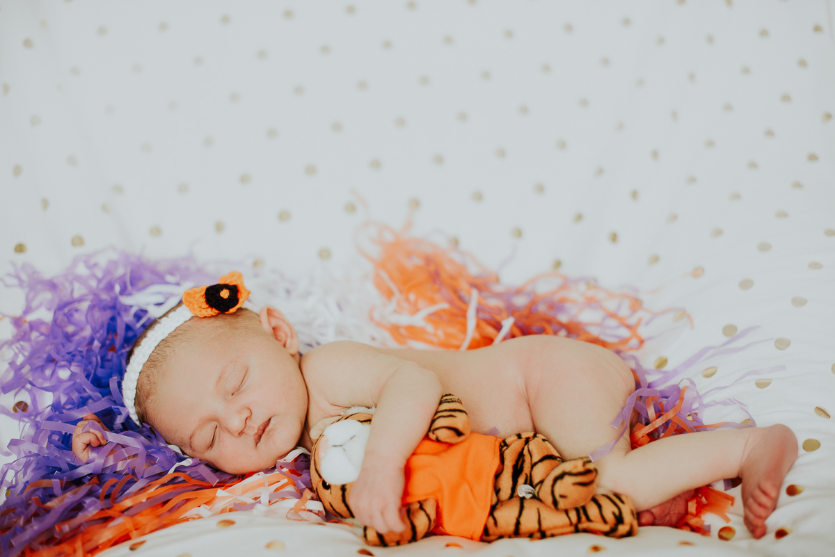 Baby girl wearing Clemson colors during her newborn photography session.